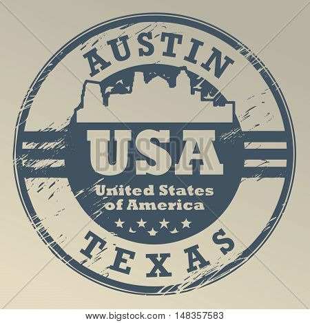 Grunge rubber stamp with name of Texas, Austin, vector illustration