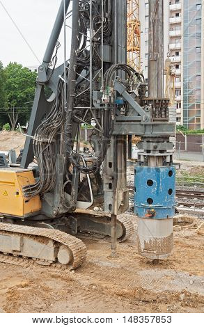 a drill rig on the construction site