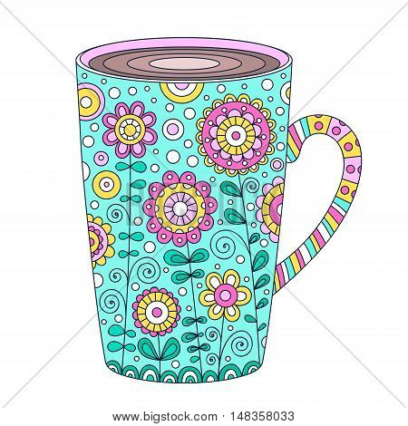 Cup of coffee. Vector hand drawn pot with doodle floral ornament and bubbles. Isolated. Outline cup of tea. Pink yellow green brawn black and white colors.