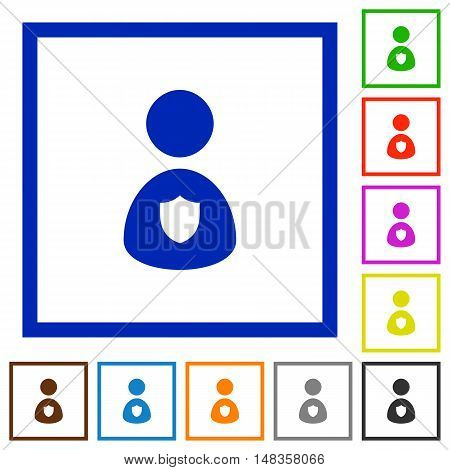 Set of color square framed security guard flat icons