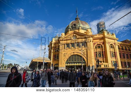MELBOURNE AUSTRALIA - JULY 18 2016 : Flinders Street Station a beautiful historic building in Colonial victorian style iconic and landmark of Melbourne city.
