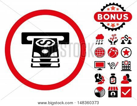 Bank Cashpoint icon with bonus elements. Vector illustration style is flat iconic bicolor symbols intensive red and black colors white background.