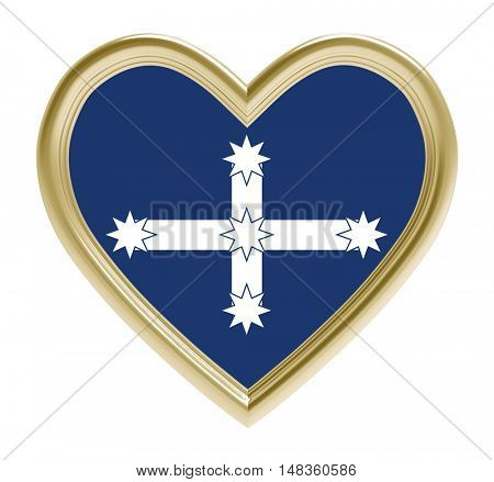 Eureka flag in golden heart isolated on white background. 3D illustration.