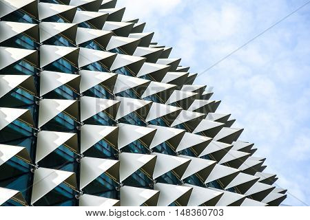 SINGAPORE - MAY 6 2016 : Architectural roof detail of Esplanade Theatres on the Bay in Singapore