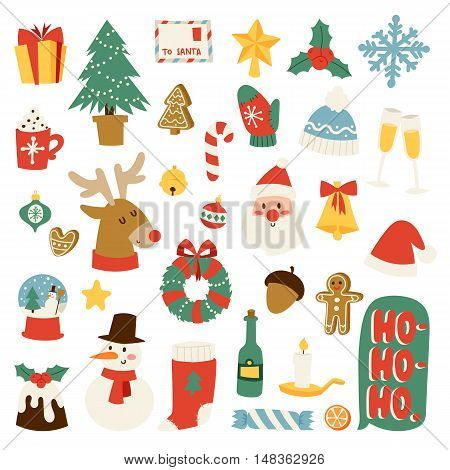 Christmas greeting card symbols vector winter celebration design. Merry christmas symbols holidays winter decoration ornament collection. Hand drawn New Year greeting card christmas symbols.