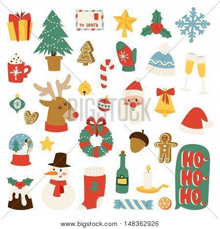 Christmas greeting card symbols vector winter celebration design. Merry christmas symbols holidays winter decoration ornament collection. Hand drawn New Year greeting card christmas symbols.