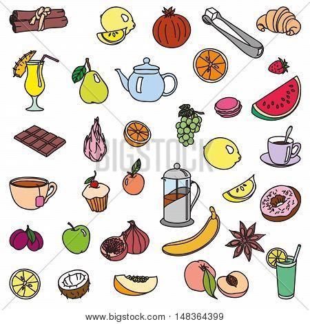 foodstuffs. fruit. vegetables. food. set of color sketches on a white background