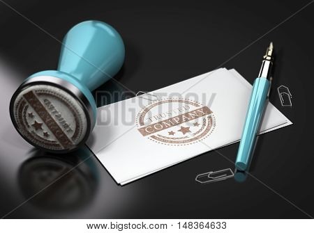 3D illustration of business cards with tursted company imprinted on it. Image over black background with rubber stamp fountain pen and paperclips. Concept of trust in business