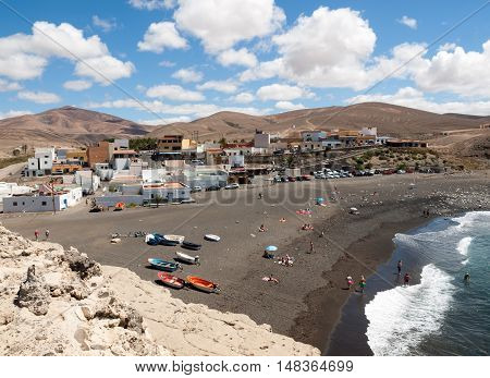 FUERTEVENTURA SPAIN - SEPTEMBER 16, 2015: black sand beach in Ajuy Fuerteventura Canary Islands Spain