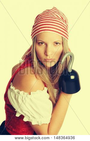 Mean woman in halloween pirate costume