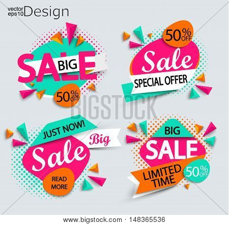 Sale - set of bright modern labels with halftone background. Sale and discounts. Vector illustration.