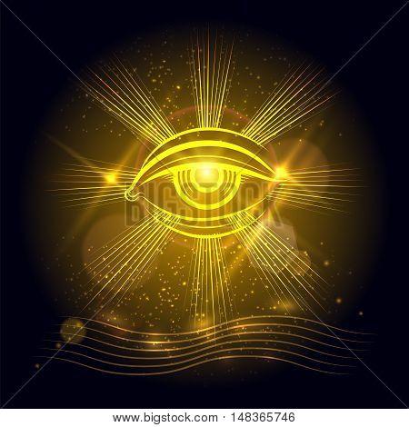 Spiritual eye or egypt eye of God on golden shining background. Vector illustration