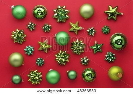 Set of christmas decorations on red.