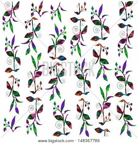 colorful vines and leaves scattered on white background illustration