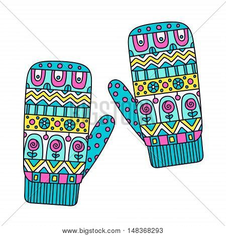 Winter mittens. Vector hand drawn mitten with doodle abstract ornament. Bright colors - pink yellow blue black and white. Isolated.