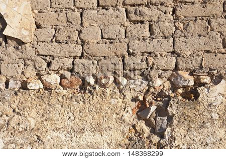 Detail of an adobe wall of an old farmhouse in Ciudad Real Province Spain