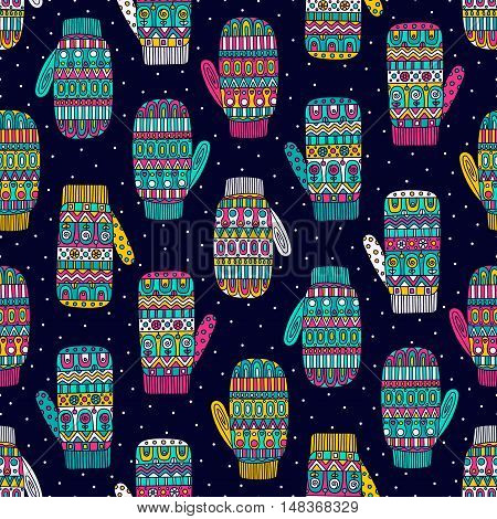 Winter mittens. Vector seamless pattern with hand drawn doodle mittens and snow. Winter elements with abstract ornaments. Childish background. Bright colors - pink yellow blue white.