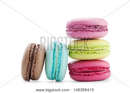 Cake macaron or macaroon isolated on white background, sweet and colorful dessert.