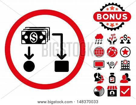 Cashflow icon with bonus pictogram. Vector illustration style is flat iconic bicolor symbols intensive red and black colors white background.