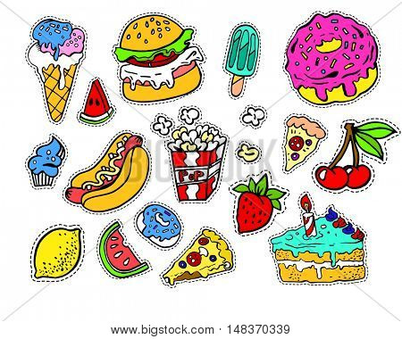 Fashion modern doodle cartoon patch badges or stikers with cute funkey fast food elements. Set of cartoon pins in 80s 90s pop art. Vector Illustration.