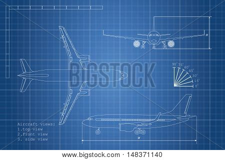 Outline drawing plane on a blue background. Top side and front view. Vector illustration