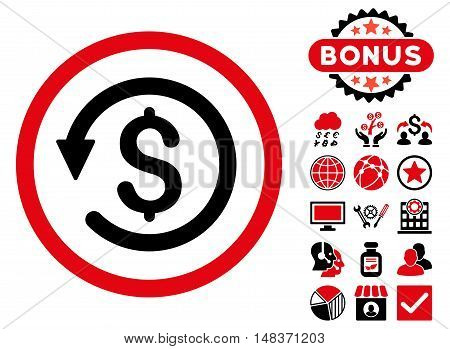 Chargeback icon with bonus design elements. Vector illustration style is flat iconic bicolor symbols intensive red and black colors white background.