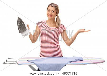 Smiling woman posing with an ironing board and an iron isolated on white background