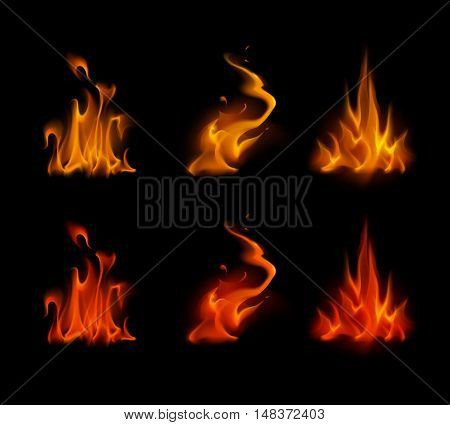 Vector Set of  Different Yellow Orange Red Scarlet Fire Flame Bonfire Isolated on Background