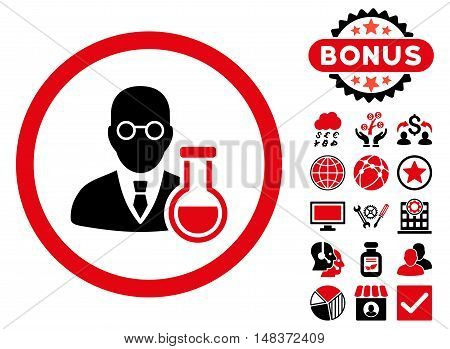 Chemist icon with bonus design elements. Vector illustration style is flat iconic bicolor symbols, intensive red and black colors, white background.
