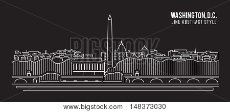 Cityscape Building Line art Vector Illustration design - Washington D.C. city