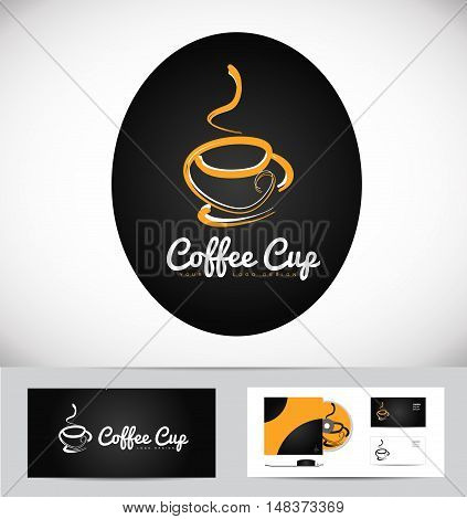 Hot coffee cup vector logo icon design