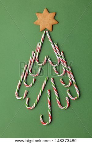 Christmas tree shape made of candy canes