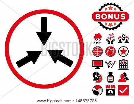 Collide Arrows icon with bonus pictogram. Vector illustration style is flat iconic bicolor symbols, intensive red and black colors, white background.