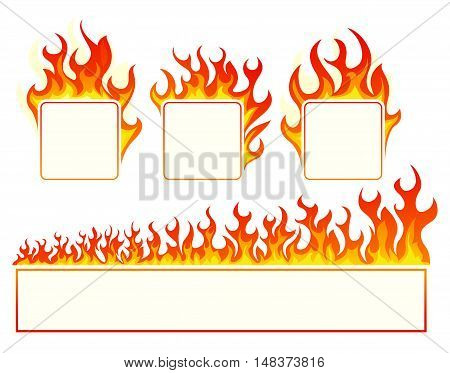 Burning square frame set on white background