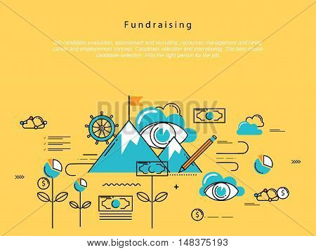 Line flat vector business design and infographic elements for fundraising and donation, design for investment, profit, savings, crowdfunding concepts, financial management, banking and money