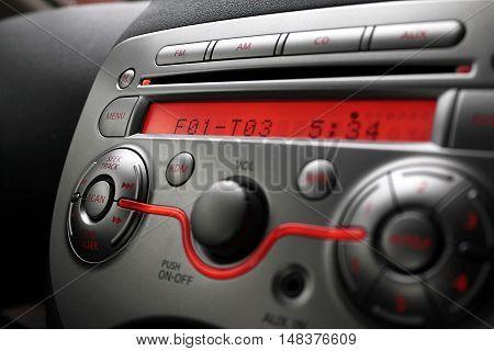 Control panel of car audio player close-up
