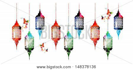 Colorful Ramadan Kareem lamps with butterflies vector illustration. Muslim celebrations, festivals and traditional events background. Festive arabic lamps design for card, invitation, brochure, banner