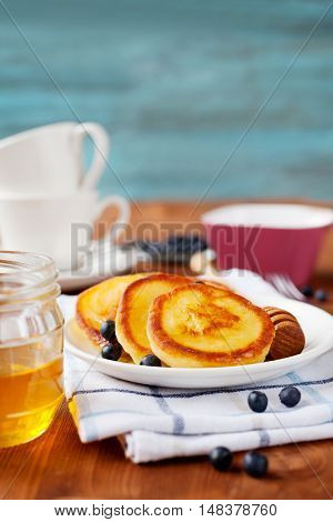 Fritters of cottage cheese with honey sour cream and bilberry or blueberry on a white plate. Delicious breakfast or snack.