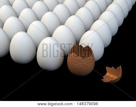 Multiple white eggs cracked chocolate egg isolated on black , Easter , 3d illustration