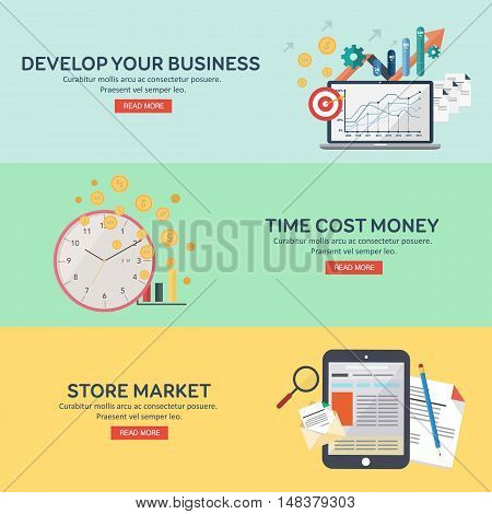 Flat icons set develope your bussines, time cost money, store market. Infographics elements collection. Concepts for web banners and promotional materials. Vector illustration.