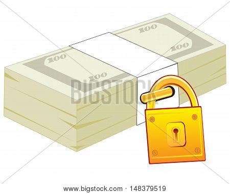 The Pack of the soft moneys closing on lock.Vector illustration
