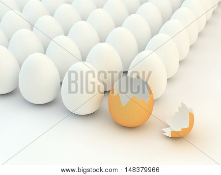 Broken eggshellmultiple white eggs , Easter , 3d illustration