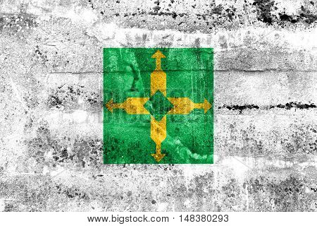 Flag Of Distrito Federal, Brazil, Painted On Dirty Wall