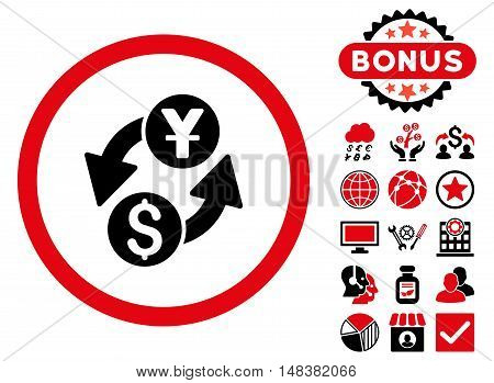 Dollar Yuan Exchange icon with bonus pictures. Vector illustration style is flat iconic bicolor symbols, intensive red and black colors, white background.