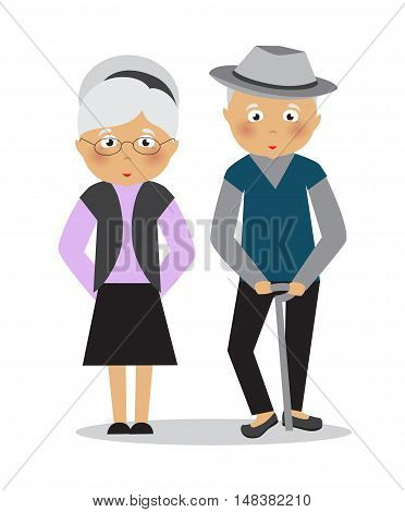 Stock Vector cartoon illustration of an old married couple