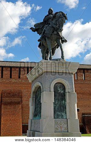 KOLOMNA RUSSIA - AUGUST 26 2016: Equestrian monument to St. Prince Dmitry Donskoy in Kolomna