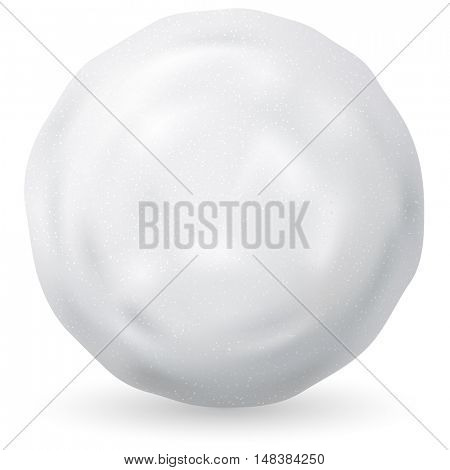 White snowball vector illustration isolated on white background. Winter and Christmas symbol.