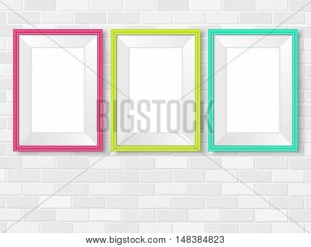 Frames Photo Gallery Mock Up Brick Wall Vector Colorful