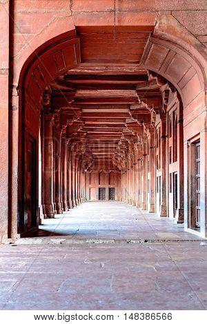Columns and corridor detail at Fatehpur Sikri, India - UNESCO heritage site