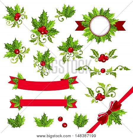 Christmas decorations with holly leaves. Ribbons dividers sticker and other ornamental elements.
